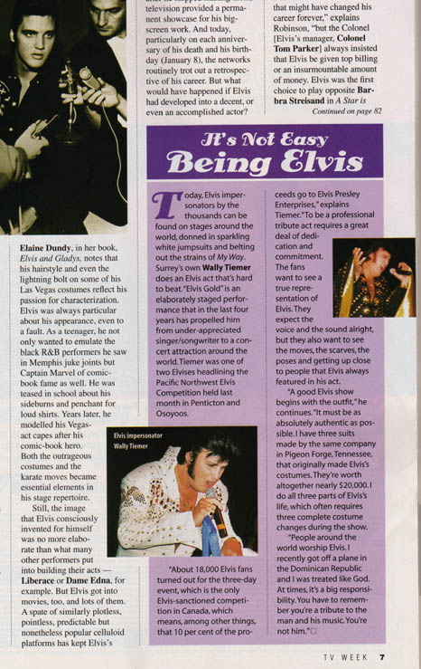 Elvis Impersonator TV Week Magazine